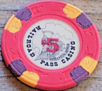 $5 4Th Edt Gaming Chip From The Railroad Pass Casino Henderson Nv.