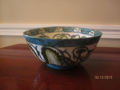 "Antique Chinese Export Hand Painted Turquoise Green Yellow Dragon 12"" Wide Bowl"