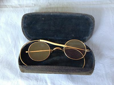 Vintage spectacles with rolled gold rims in case