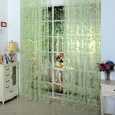 Pastoral Floral Tulle Voile Door Window Curtain Drape Panel Sheer Scarf Valances