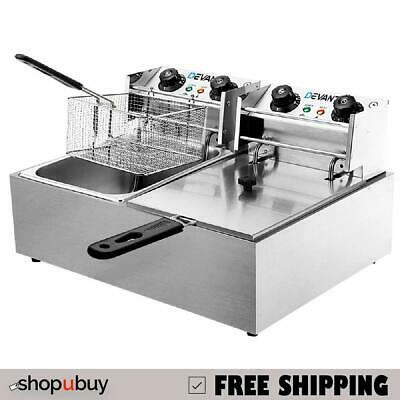 Commercial Deep Fryer 20L Twin Double Basket Electric Fryer Chip Cooker