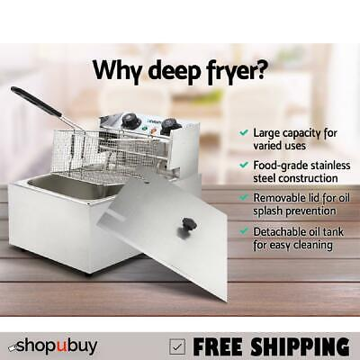 Commercial Deep Fryer 10L Single Basket Electric Fryer Chip Cooker Quick Heat