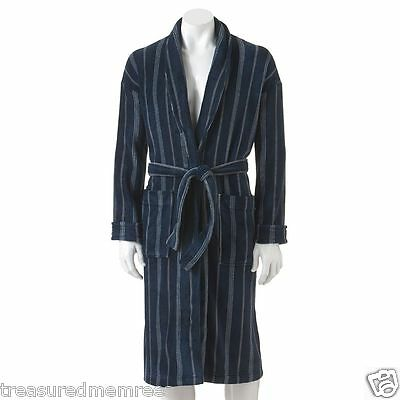 Croft & Barrow Plush Robe ~ Size L/XL ~ Navy Stripe ~ New With Tags