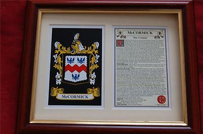 McCORMICK Family Heraldic Framed Coat of Arms + Crest + History
