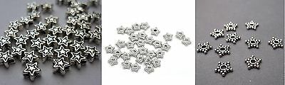 🎀 3 FOR 2 🎀 100 Silver Star 4mm Spacer Beads For Jewellery Making