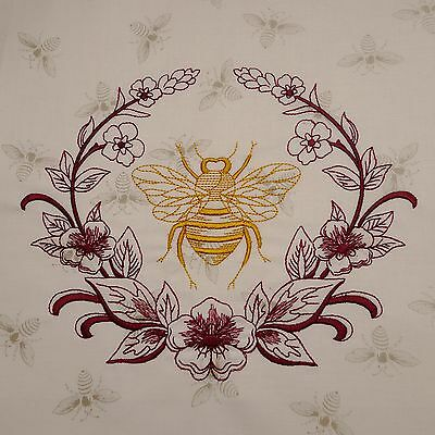 Embroidered Quilt Block Panel NAPOLEONIC BEE 100% Cotton Cream Honey Bee Fabric