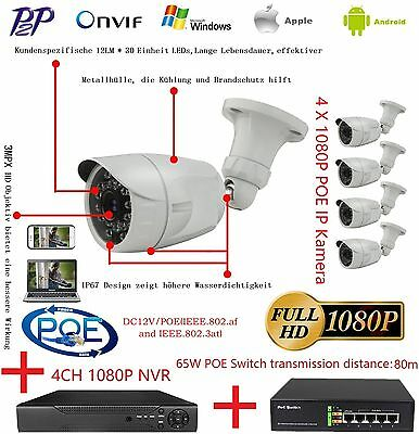 4 X 2MP 1080P POE Onvif IP Kamera + 1 X PoE Switch + 1 X 4CH NVR IP Kamera Kit
