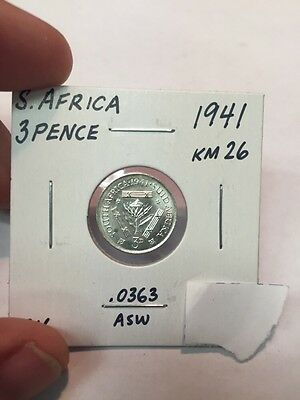 1941 South Africa 3 Pence .0363 ASW KM26 Uncirculated.