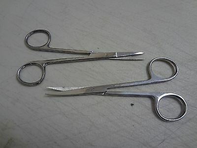 """2 Iris Scissors 4.5"""" Curved & Straight Surgical Dental Instruments"""