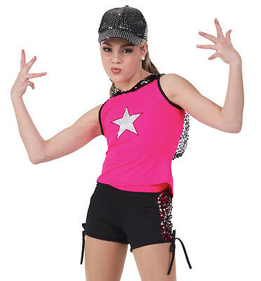 Let's Shake Dance Costume Hooded Top and Shorts Jazz Tap CS,CXL,AS,AM,AL,AXXL