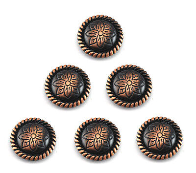 "Conchos Lot Of 6 Antique Copper Round Rope Flower Western Rodeo Leather 1 "" New"