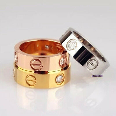 TITANIUM Steel Stainless Wedding Band Ring Crystal Size 6-10