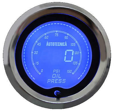 Autotecnica Oil Pressure 52mm Gauge LCD Electronic Digital 7 Colour Diplay NEW