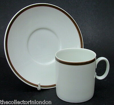 Thomas Wide Brown Band Medallion Shape Coffee Cups & Saucers Look in VGC
