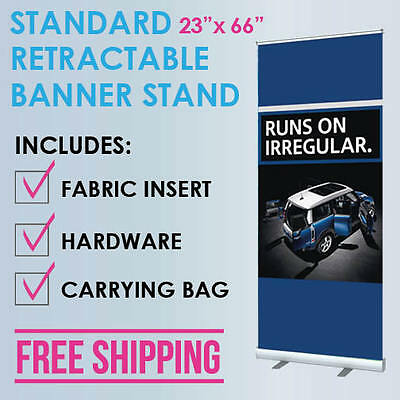 "23""x66"" Retractable Roll Up Banner Stand Trade Show Display + Free Fabric Print"