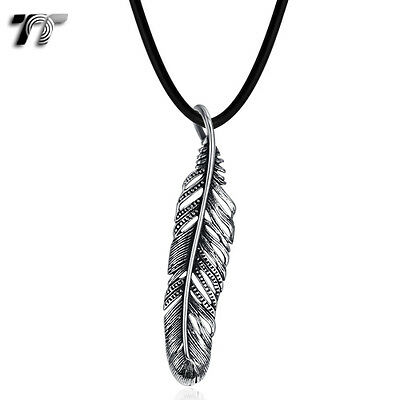 TT 316 Stainless Steel Feather Pendant Necklace (NP310) NEW Arrival