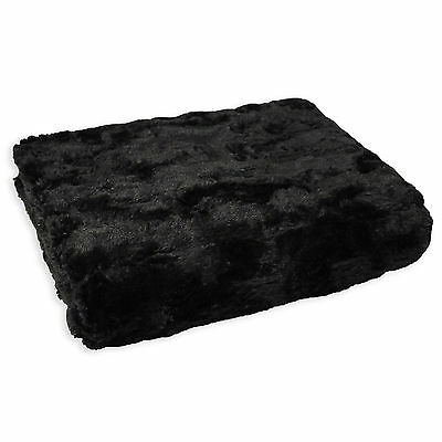 Faux Fur Fluffy Throw - Black Super Soft Snuggle Bed Blanket Sofa Throw Over