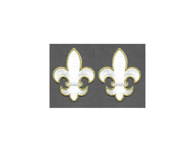"Fleur De Lis White/Gold Embroidered Iron On Patch - Set Of 2 SMALL 1 1/8""H"