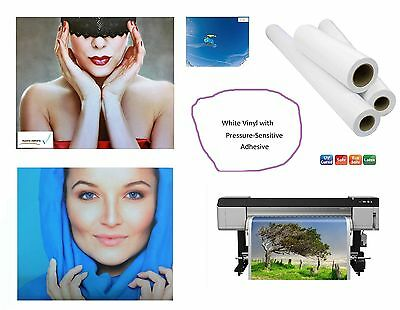 """3mil Matte White Self-Adhesive Removable Clear Vinyl UV Solvent Latex 54"""" x 150'"""