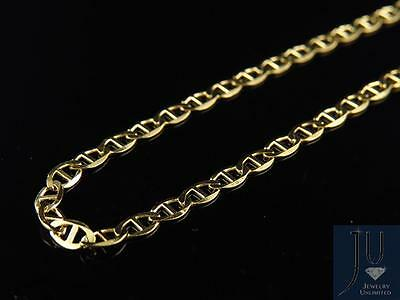 Men's 10K Solid Yellow Gold 2.5MM Flat Mariner Link Style Chain 16-24 Inches