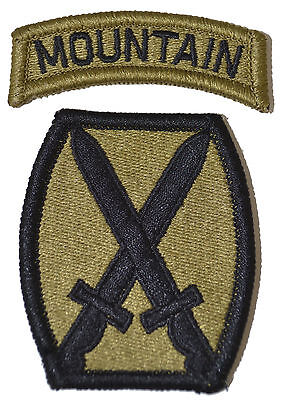 10th Mountain Division Patch with MOUNTAIN Tab Multicam/OCP/Scorpion Military