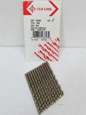 "Cle-Line C23353, Type 1802, 3/16"" Cobalt, HD Jobber Length Drill Bits 12 each"