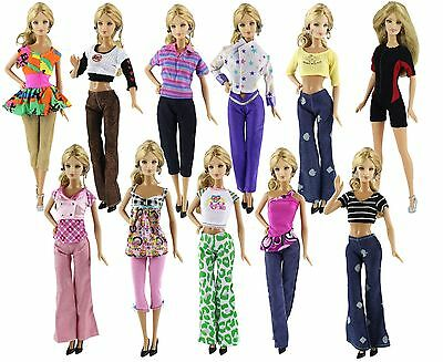 Lot 5* Different Style Fashion Handmade Clothes Outfit+10 Shoes For Barbie Doll