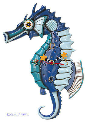 "Beautiful Blue ""Salty Seahorse"" Designer Wall Clock by Allen Designs"