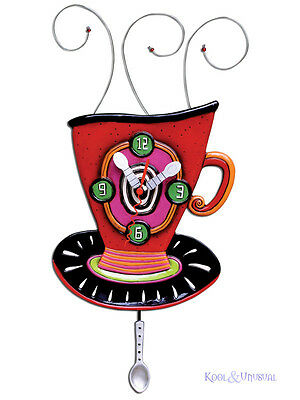 "Colourful ""Wake Up Cup"" Coffee Tea Designer Wall Clock by Allen Designs"