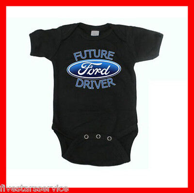 Rare New Funny Baby Boy Girl Clothes Cotton Bodysuit Black Romper Ford Driver