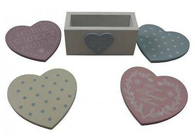 Shabby Chic Pastel Heart Coasters with Stand - Set of 4 coasters - New Home gift