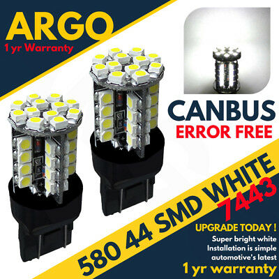 2 x 580 44 SMD LED XENON WHITE 7443 W21/5W T20 DRL DAYTIME RUNNING LIGHT BULBS