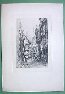 QUIMPER Street View Brittany France - Antique Print Heliogravure