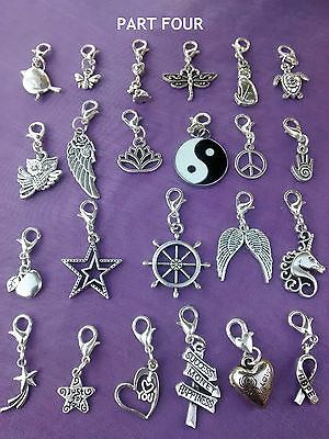PART 4 - QUALITY Clip On Silver CHARMS GOOD LUCK Keyring Purse  Bag Bracelet Zip