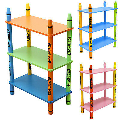 Kiddi Style Childrens Crayon Wooden Shelves, Bookcase -Kids Toddlers Childs-NEW