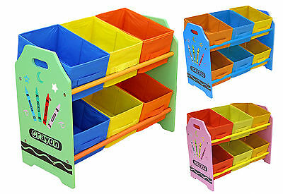 Kiddi Style Childrens Crayon Wooden Storage Unit,6 Bins-Toy Organizer . Kids-NEW