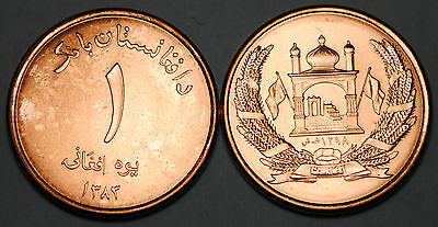 2004 Afghanistan 1 Afghani Coin Unc from Roll BU Nice KM# 1044