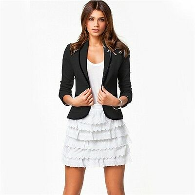 Elegant Women's Fashion Long Sleeve Lapel Slim Short Blazer Suit Jacket Coats 8C