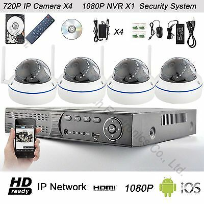 4CH 1080P Network Video Recorder NVR +4 WIFI 720P IP Cameras Security System Kit