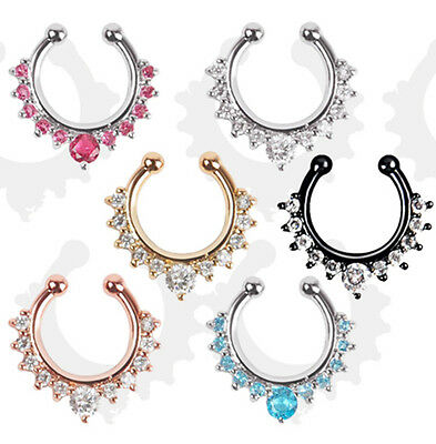 NEW 1PC Fake Nose Ring Non Piercing Gem Ethnic Septum Piercings Body Hoop Nose