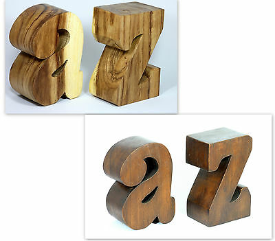 """Wooden A Z bookends hand carved from solid Acacia wood 8"""""""