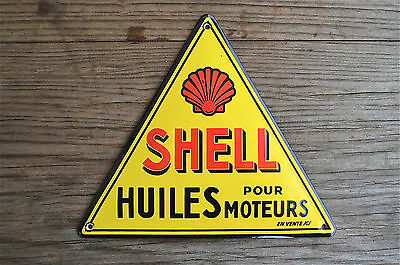 Quality Enamel Shell Oil Sign Huiles Pour Moteurs Plaque Vintage Style Wall Sign