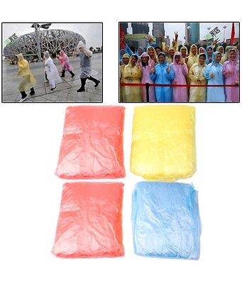 Disposable Raincoat Waterproof Emergency Poncho Adult Camping x 4 -Random Colour