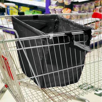 Reusable Shopping Bag Carrier Bags Trolley Supermarket Grocery Large Carry-Black