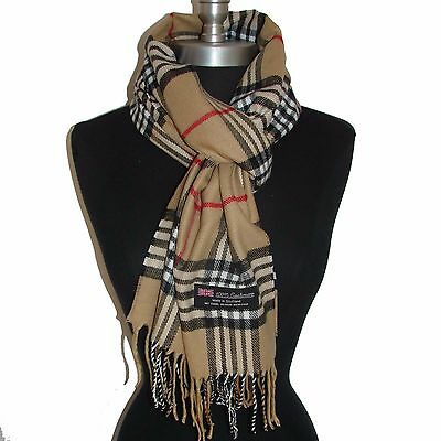 100% CASHMERE SCARF MADE IN SCOTLAND PLAID DESIGN SUPER SOFT UNISEX Camel
