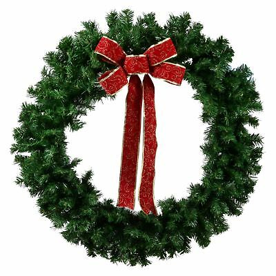 Gorgeous 3ft (90cm) Large Festive Garage Door Christmas Wreath With Red Bow