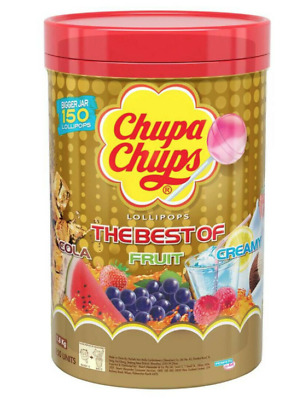 CHUPA CHUPS 150 Best Lollipops Assorted Flavour Bulk Lollies Jar 2019 Stock
