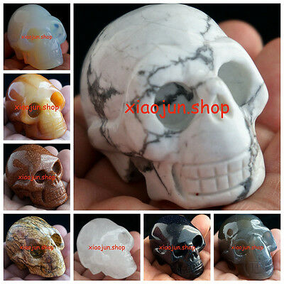 Natural Gemstone Carved Crystal Skull, Realistic, Crystal Healing 2''