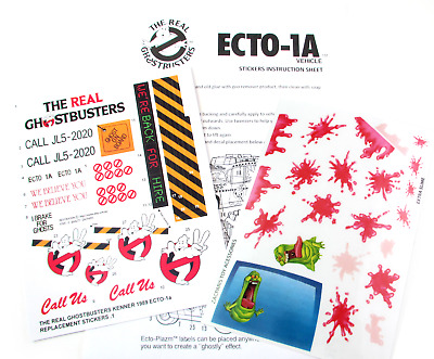 THE REAL GHOSTBUSTERS 'DIE CUT' REPLACEMENT STICKERS for ECTO 1A CAR & SLIME