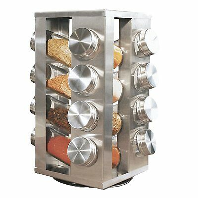 NEW Stainless Steel 16 Jar Revolving Spice Rack Stand Carousel Rotating Glass